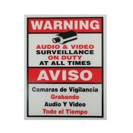 "A1000 Surveillance Warning Sign 11"" x 18"""